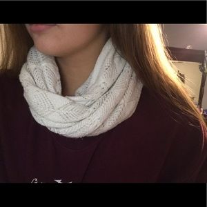 white kind of sparkly infinity scarf